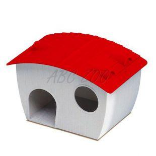 Ház hörcsögöknek - műanyag piros tetővel, 14x9,5x8,8 cm