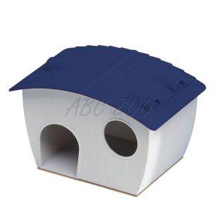 Ház hörcsögöknek - műanyag kék tetővel, 14x9,5x8,8 cm