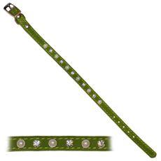 Kutyanyakörv díszekkel, zöld  - 1,2x28-33,5cm