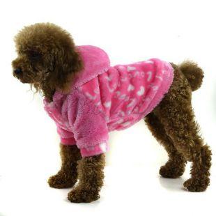 Kutyakabátka - rózsaszín kapucnis, M