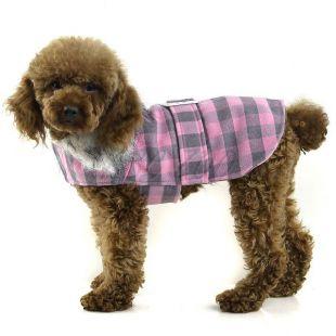 Kabát kutyának - szürke-rózsaszín, XL