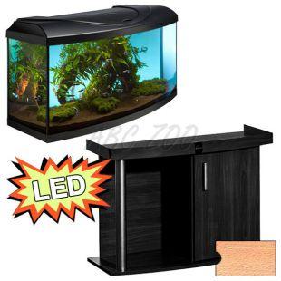 Akvárium STARTUP 80 LED Extra 2x10,1W - íves + COMFORT bükk állvány