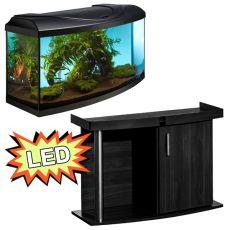 Akvárium STARTUP 80 LED EXPERT 17W - íves + COMFORT fekete állvány