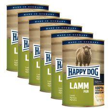 Happy Dog Pur - Lamm/bárányhús, 6 x 400g, 5+1 GRÁTISZ