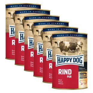 Happy Dog Pur - Rind/marhahús, 6 x 400g, 5+1 ajándék
