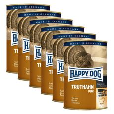 Happy Dog Pur - Truthahn/pulyka, 6 x 400g, 5+1 GRÁTISZ