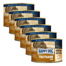 Happy Dog Pur - Truthahn/pulyka, 6 x 200g, 5+1 GRÁTISZ