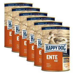 Happy Dog Pur - Ente/kacsa, 6 x 400g, 5+1 GRÁTISZ
