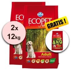 Farmina MO P ECOPET N dog ADULT MEDIUM 2 x 12 kg + 4 kg INGYEN