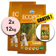 Farmina MO P ECOPET N dog LAMB MINI 2 x 12 kg + 4 kg ajándék