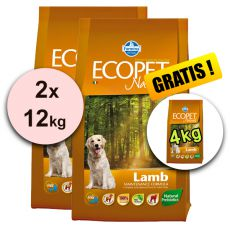 Farmina MO P ECOPET N dog LAMB MEDIUM 2 x 12kg + 4kg INGYEN