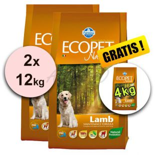 Farmina MO P ECOPET N dog LAMB MEDIUM 2 x 12kg + 4kg INGYEN
