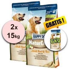 Happy Dog NaturCroq RIND UND REIS 2 x 15 kg + 6 kg GRÁTISZ