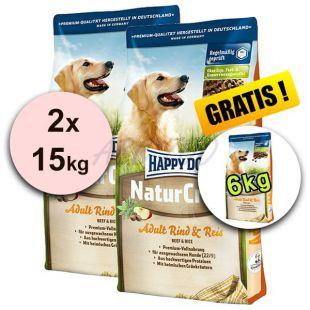 Happy Dog NaturCroq RIND UND REIS 2 x 15 kg + 6 kg INGYEN