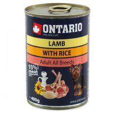 ONTARIO kutyakonzerv, bárány, rizs és olaj - 400g