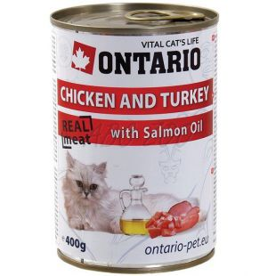 ONTARIO Konzerv macskáknak - csirke, pulyka és olaj - 400 g
