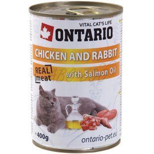ONTARIO Konzerv macskáknak - csirke, nyúl és olaj - 400 g