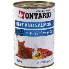 ONTARIO Konzerv macskáknak - marha, lazac és olaj - 400 g