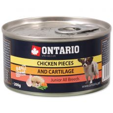 ONTARIO Junior kutyakonzerv, csirkefalatok + porcok 200g