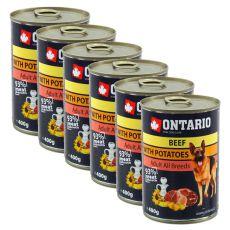 ONTARIO kutyakonzerv, marha, burgonya és olaj - 6x400g
