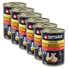 ONTARIO Puppy kutyakonzerv, csirke, rizs és olaj - 6x400g