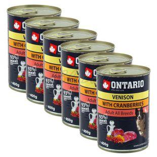 ONTARIO kutyakonzerv, vadas, áfonya és olaj - 6x400g