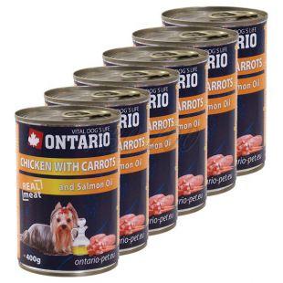 ONTARIO kutyakonzerv, csirke, sárgarépa és olaj - 6x400g