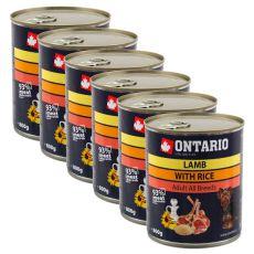 ONTARIO kutyakonzerv, bárány, rizs és olaj - 6x800g