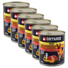 ONTARIO kutyakonzerv, marha, burgonya és olaj - 6 x 800g