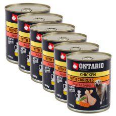 ONTARIO kutyakonzerv, csirke, sárgarépa és olaj - 6x800g