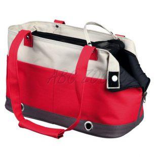Kutya vagy macska hordozására táska, Dilara - piros és bézs színű, 38x16x21 cm