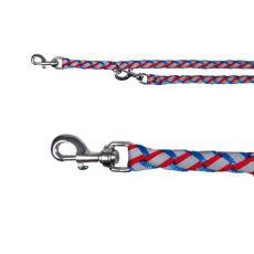 Kutyapóráz, fonott - fényvisszavarő piros-kék, L-XL 2m