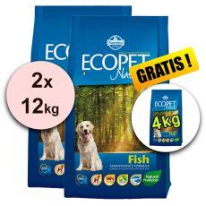 Farmina MO P ECOPET N dog FISH MEDIUM 2 x 12 kg + 4 kg INGYEN