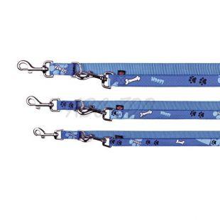 Póráz kutyának, kék színben, mintával, állítható M/L - 2 m