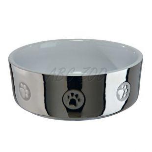 Kerámia kutyatál, ezüstös - 0,8 l