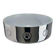 Kerámia kutyatál, ezüstös - 0,3 l