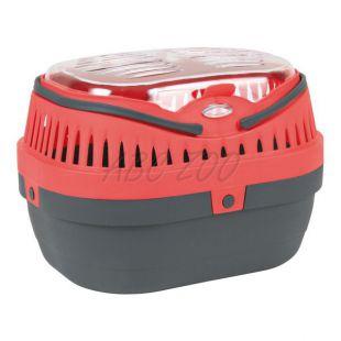 Szállítóbox kisállatoknak JUMBO, szürke/rózsaszín - 31x24x21cm