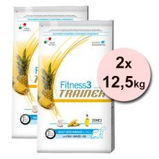 Trainer Fitnes3 Adult MEDIUM & MAXI - hal és kukorica 2 x 12,5kg