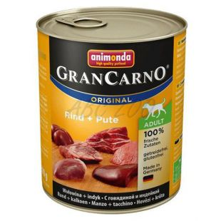 GranCarno Fleisch Adult kutyaeledel marha+ pulyka - 800g