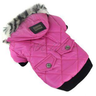 Kutyakabát szőrmés kapucnival- rózsaszín, XXL