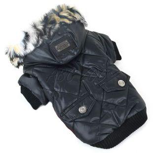 Kutyakabát szőrmés kapucnival - fekete, M