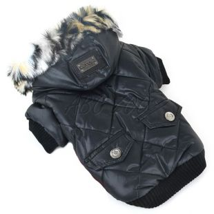 Kutyakabát szőrmés kapucnival - fekete, L