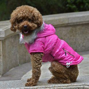 Kutyabunda cipzáros zseb imitációval - rózsaszín, M