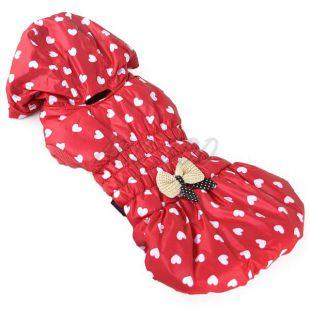 Kutyamellény - piros, szívecske mintával, L