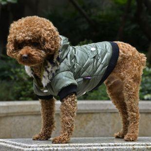 Kutyakabát szőrmés kapucnival- zöld, L