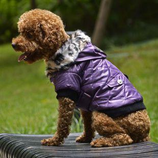 Kutyakabát szőrmés kapucnival- Lila, XS