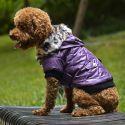 Kutyakabát szőrmés kapucnival- Lila, XL