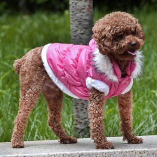 Kutyabunda lecsatolható kapucnival - rózsszín, XL