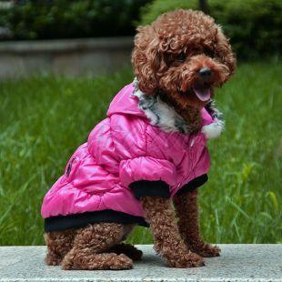 Kutyabunda fekete szegéllyel- rózsaszín, L
