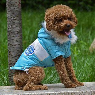 Kutyabunda felvarróval - kék, XS
